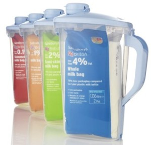 Sainbury's milk bags in reusable jug