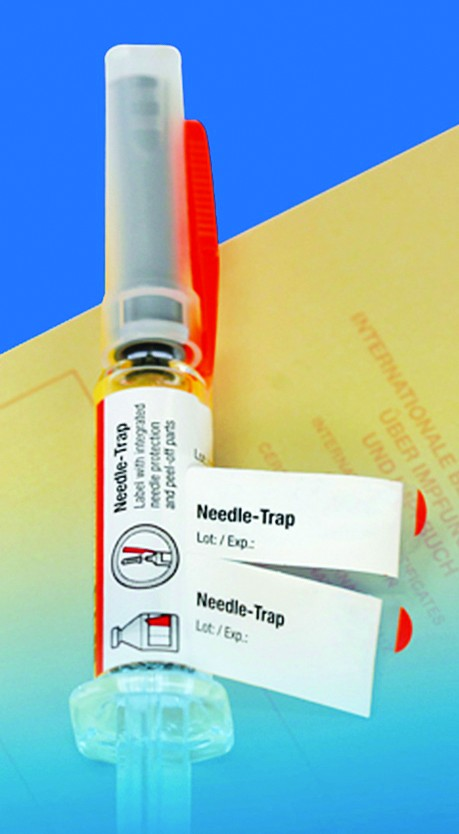 Schreiner Group Needle Trap syringe label