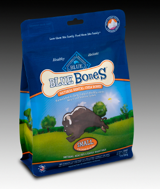 Blue Bones dog treats standup pouch