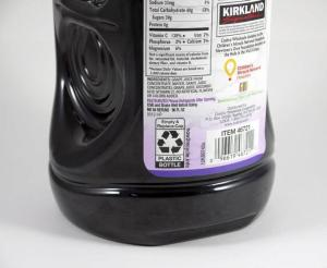 Costco Kirkland juice bottle recycling label